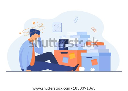 Tired man sitting on floor with paper document piles around flat vector illustration. Cartoon frustrated office employee doing paperwork. Business, fatigue and bureaucracy concept Stock photo ©