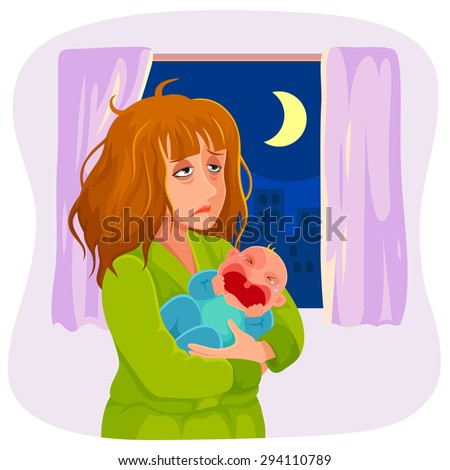 tired mother holding a crying