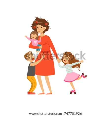 Tired mother with crazy hair and her three kids in cartoon style