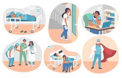 Tired overworked doctors, nurses, paramedics, vector flat isolated illustration. Exhausted healthcare professionals become doctors superheroes saving human lives fighting coronavirus Covid-19 disease.