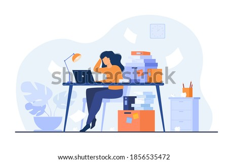 Tired overworked secretary or accountant working at laptop near pile of folders and throwing papers. Vector illustration for stress at work, workaholic, busy office employee concept Foto stock ©