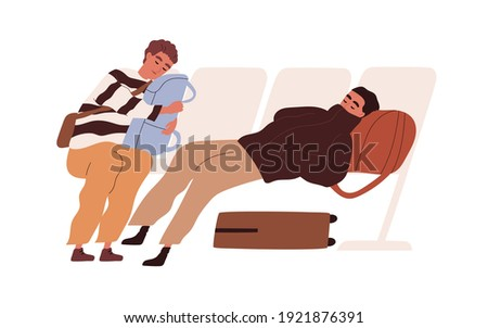 tired passengers with suitcases