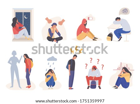 Tired sad people depressed. Lonely pain young girl guy suffering domestic violence exhausted sad teenagers tomorrow depression pressure loved ones despair sadness. Cartoon color vector.