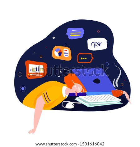 Tired student fall asleep in learning process laid his head in the middle of the laptop Pupil studying online using his computer computer flat vector illustration with a bunch of papers on his desk