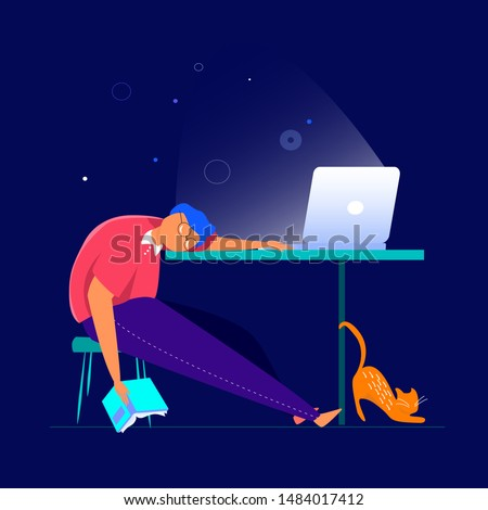 Tired student fall asleep in learning process laid his head on the table Pupil studying online using his computer laptop flat vector illustration with a book in his hand, work table stratching red cat