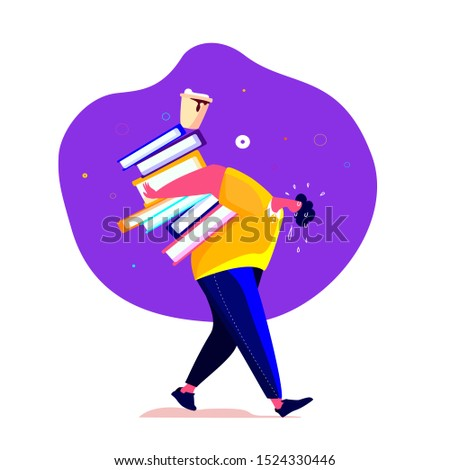 Tired student or worker carrying a lot of books and folders. Overwhelmed burnout employee holding bunch of textbooks trying to overcome his fatigue. Rushing to Implement His Business Idea. Exhausted