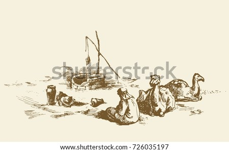 Tired trip old historic biblical nomad seat in barren hot wild asian Oman ground. hand drawn picture scene sketch in antique style ink pen on paper. Scenic up view and space for text on sky background