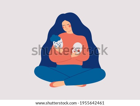 Tired woman holds masks with positive and negative emotions. Girl plays a role, or feels fake.  Personality change Disorder concept. Vector illustration. Foto d'archivio ©