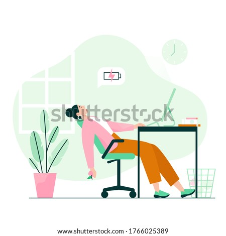 Tired woman sleeping at the desk. Work burnout, low energy at work. Flat vector illustration.