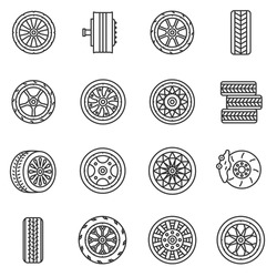 Tires and wheels icons set. The wheel of a car, thin line design. Car tires, rims, linear symbols collection. Wheel of various shapes, isolated vector illustration