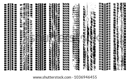 Tires trail silhouette set. Imprint of the car. Grunge tire tracks. Trace of automotive rubber. Black tire track. Tire track isolated silhouette vector. Tire track road