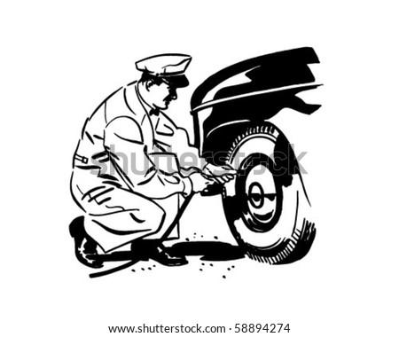 Tires Under Pressure - Retro Clip Art