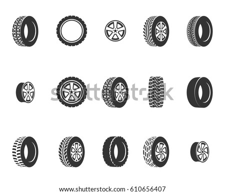 Tires, wheel disks auto service vector icons. Auto black wheel, illustration of automobile rubber wheel.