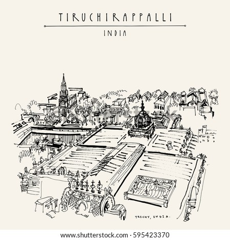 Tiruchirappalli (Trichy), Tamil Nadu state, India. High point view from Rockfort temple. Artistic drawing. Travel sketch. Vintage hand drawn postcard or poster template. Vector illustration #595423370