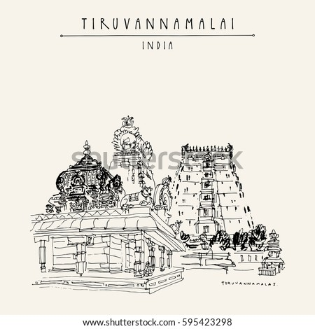 Tiruvannamalai, Tamil Nadu, India. Hindu temple, gopurams, holy cow statue. Achitectural hand drawing. Travel sketch. Vintage hand drawn postcard or poster. Vector illustration
