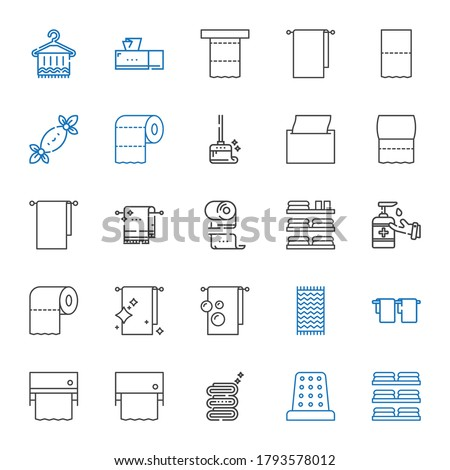 tissue icons set. Collection of tissue with towels, thimble, towel, toilet paper, antiseptic, napkin, wiping, tissues, tissue box. Editable and scalable icons.