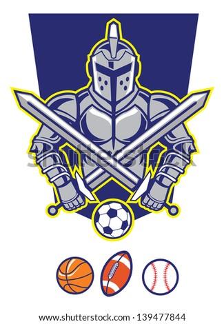 titan mascot with various sport ball