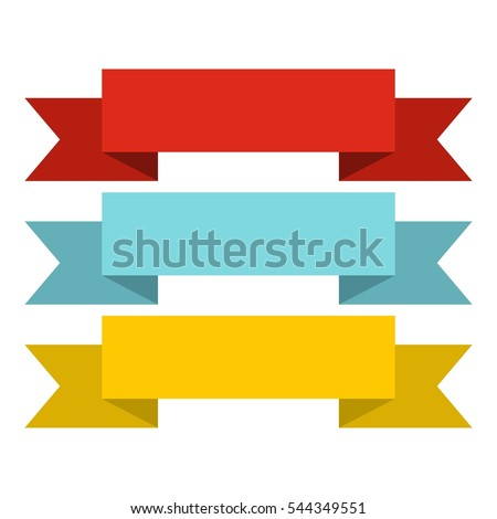 Title banner ribbons icon. Flat illustration of title banner ribbons vector icon isolated for any design