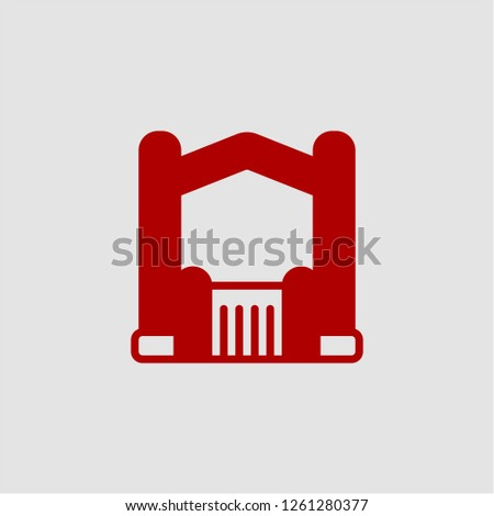Title: Filled bouncy castle super icon. Bouncy castle vector illustration for graphic design. Bouncy castle symbol.
