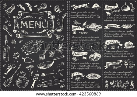 title page and menu list  for  restaurant. sketches food icons, vector chalk on a blackboard, a trend design, vintage, kitchenware, chicken, vegetables, fish, desserts, drinks, spices. Bon Appetit