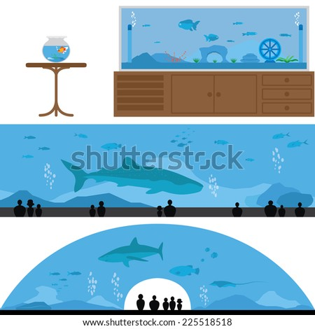 title  set of fish tank and