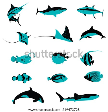 Title: Set of Fish Underwater Aquatic Shell Animals and Creatures icons Description: Set of many Fish Underwater Aquatic Shell Animals and Creatures icons
