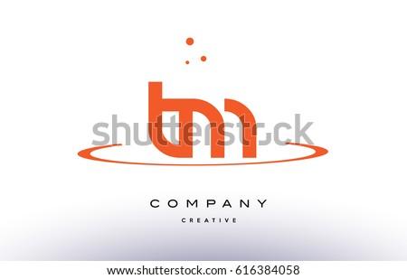 TM T M creative orange swoosh dots alphabet company letter logo design vector icon template Stock fotó ©