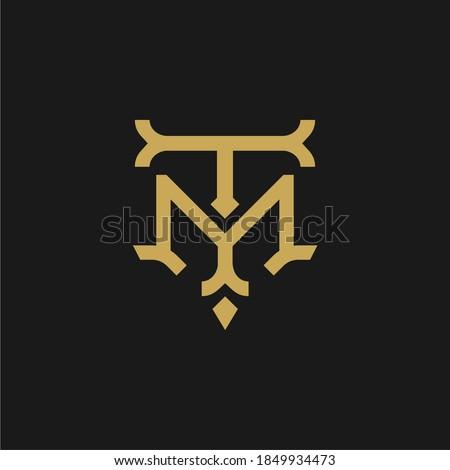 TM T M MT logo letter logotype icon font monogram, elegant classic vintage retro style gold letter logo design Stock fotó ©