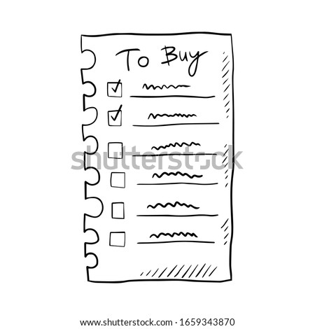 To buy list hand drawn doodle vector illustration, design element, icon, sticker. Isolated on white background. Easy to change color. To buy list element. Shopping time. Check list. Market, shop.