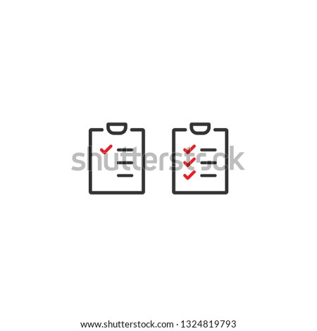 To-do check list with ticks and points. Clipboard with check marks. Black and red line squared flat icon isolated on white. Portfolio symbol. Vector illustration.  #1324819793