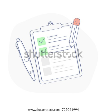 To do list (checklist) outline infographic illustration. Symbol of Completed or Scheduling Tasks. Clipboard with pencil. Premium Quality vector icon concept for Website Element, Mobile websites, Apps.