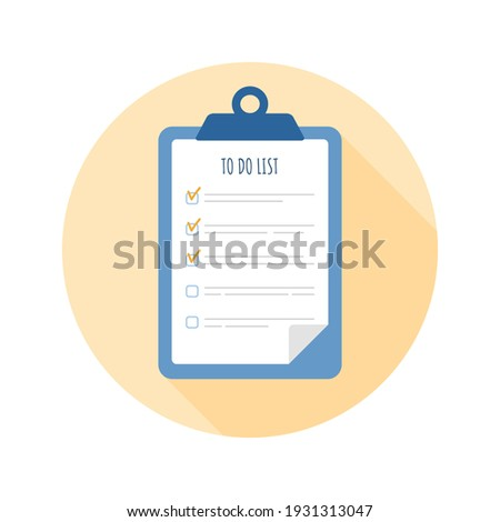 To do list icon. Planning and organization of work. Vector illustration in flat cartoon style. Foto stock ©