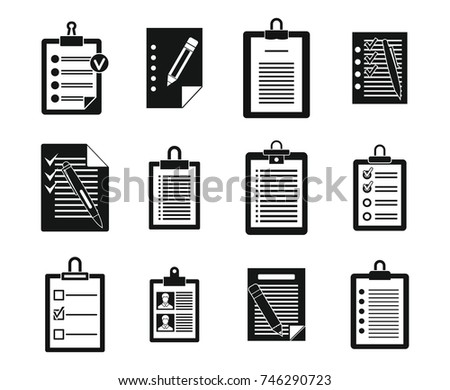 To do list icon set. Simple set of to do list vector icons for web design isolated on white background