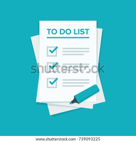 To do list or planning icon concept. All tasks are completed. Paper sheets with check marks, abstract text and marker. Vector flat illustration isolated on color background
