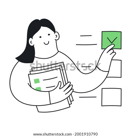 To-do list, performing prescribed tasks, filling out a questionnaire. Cute cartoon woman ticks the document. Thin line vector illustration on white background.