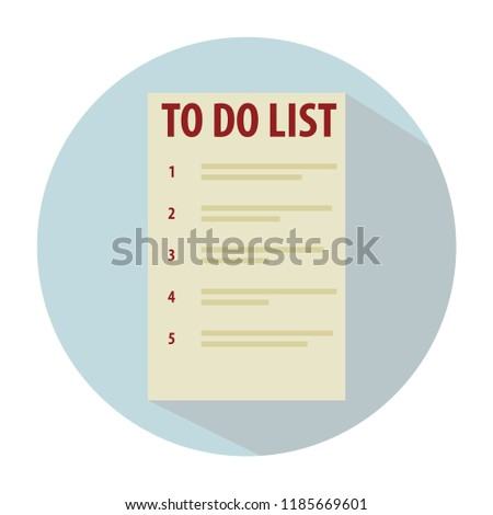 To do list with inscriptions and numbering. Flat style, white circle frame, blue background. Efficient allocation of resources and time