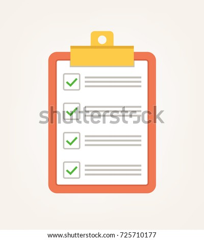 To do voting check list with green tick. Vector flat cartoon illustration