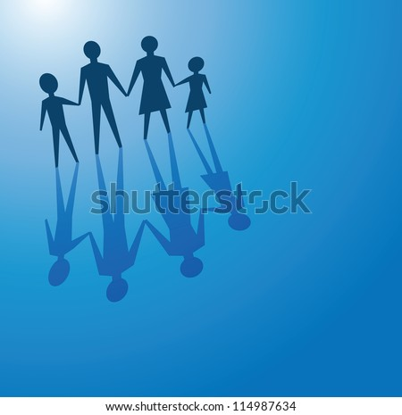 to illustrate a family concept, father, mother and children.