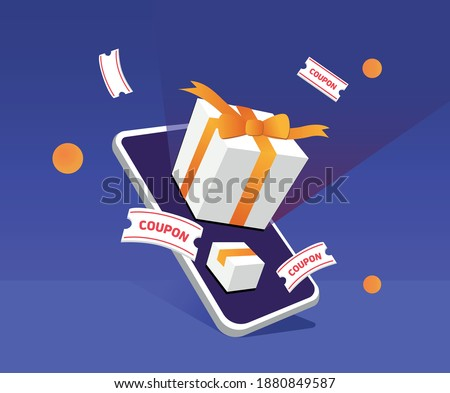 to issue gifts and coupons to consumers via mobile illustration set. phone, box, app, fortune. Vector drawing. Hand drawn style.