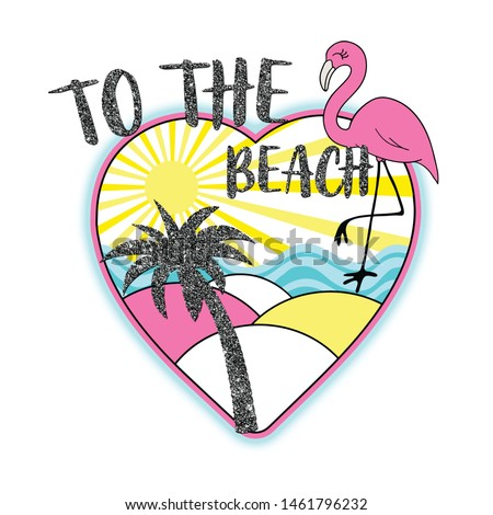 to the beach pink summer tropic heart t-shirt and graphic design