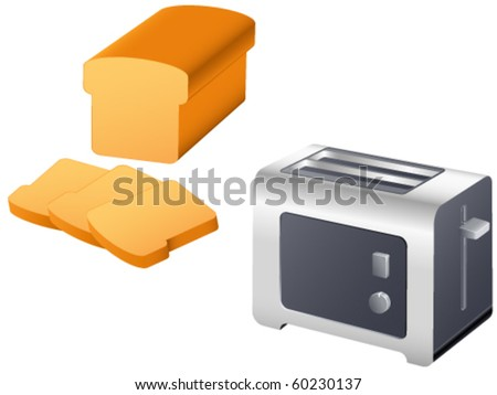 toast and toaster - vector illustration
