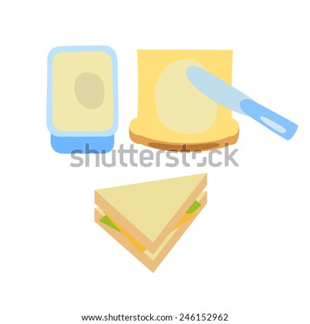 toast  butter and sandwich