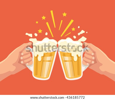 toast with beer two hands