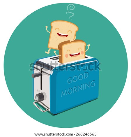 toaster and funny toasted bread