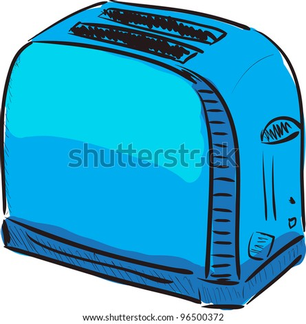 Toaster blue sketch cartoon vector illustration