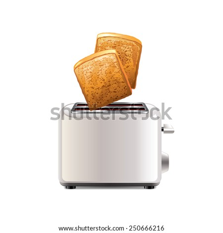 toaster with toast isolated on