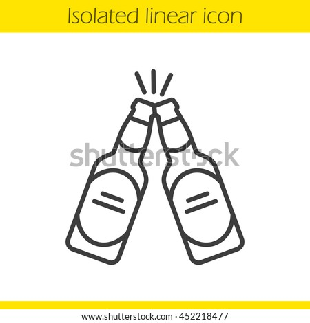Toasting beer bottles linear icon. Cheers. Thin line illustration. Two beer bottles contour symbol. Pub and bar sign. Vector isolated outline drawing