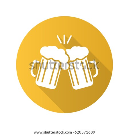 Toasting beer glasses. Flat design long shadow icon. Cheers. Two foamy beer glasses. Vector silhouette symbol