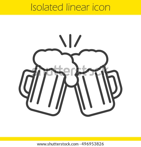 Toasting beer glasses linear icon. Cheers. Thin line illustration. Two foamy beer glasses. Contour symbol. Vector isolated outline drawing