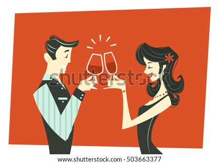 toasting couple   illustration